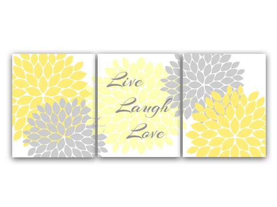 Home Decor CANVAS Wall Art Live Laugh Love Yellow Gray Wall