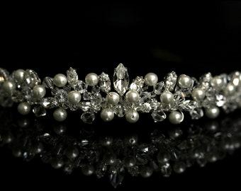 Bridal Wedding Tiara made with Swarovski Crystal Beads, Rhinestone & Pearln Gold or Silver