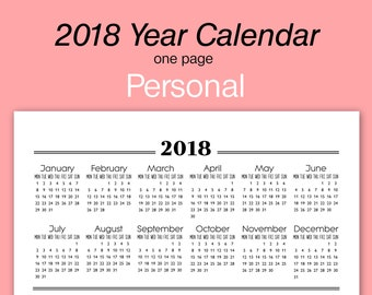 one page calender