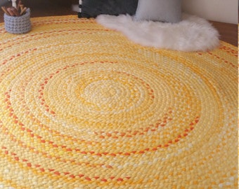 "60"" Yellow braided rug Made to order with pops of orange"