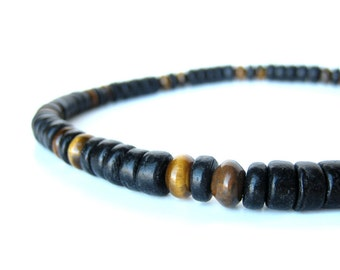 Mens jewelry - necklace in black wood and tigereye beads - Cat's Eye