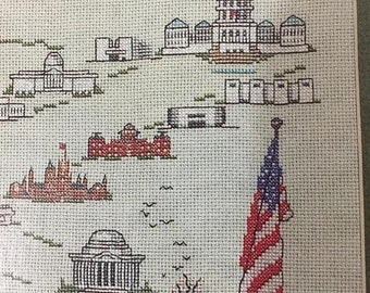 "APRILSALE Tidewater Originals ""Washington,D.C."" counted cross stitch Leaflet Vintage 1984"