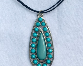 Turquoise Teardrop Pendant Necklace, Statement Jewelry, One of a Kind Jewelry, Beachy, Colorful Necklace