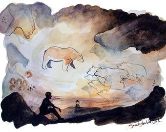Cave Bears - Art Print - Watercolor Illustration, Ancient Cave Painting, Fine Art Print