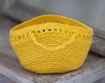 Yellow Handbag from Plastic Yarn for Little Girl Upcycled Bags Crochet Ecofriendly Tote Summer LightWeight Kid Plarn Bag