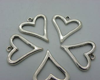 5 connectors in the shape of hearts with 5 connectors 20 mm x 18 mm antique silver veuillit