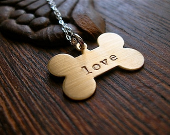Puppy Love -- Dog Person Necklace, Brass, Copper, Nickel Silver on Sterling Silver Chain