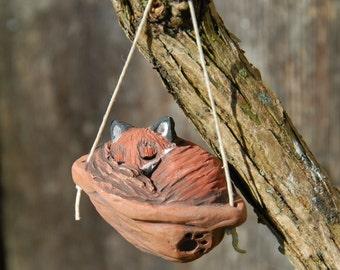 Sleeping Fox Walnut Ornament