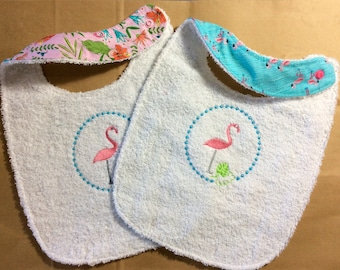 Embroidered Terry bib, double-sided / Embroidered Terry cloth Baby bib with cotton fabric lining