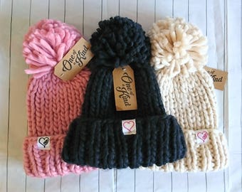 Oversized Adult knitted hat with pompom and embroidered detail