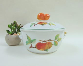 Royal Worcester Evesham Vale One Pint Round Covered Casserole Vintage  Porcelain Oven To Table Ware
