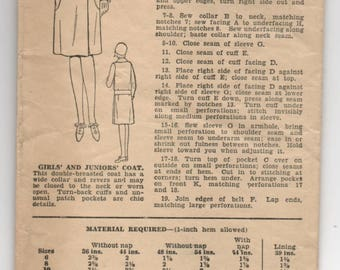 """1930's Excella Girl's Double-Breasted Coat with Patch Pockets and Belt Pattern - Chest 28"""" - No. E3077"""