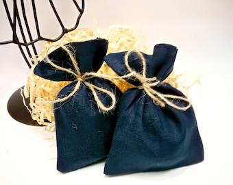 Natural Linen dark blue favor bags Wedding favor bags Linen gift bags Baby shower bags  Small linen bags Party supplies