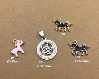 10PCS, Enamel Charm, Unicorn Charm, Horse Charm, White Starfish Pendant, Jewelry Charm, Craft Supplies, Gold Tone