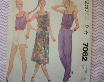 vintage 1980s McCalls sewing pattern 7082 misses disco era dress or top and pants or shorts size 12