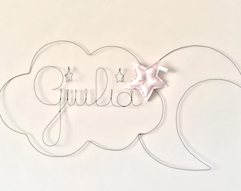 Decorative wire Moon Star Cloud - door sign personalized with a word or name