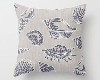 Nautical Pillow cover Seashell Pillow Cover Decorative Pillow Cover Beachy Pillow Navy Pillow