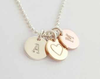Personalised Necklace 3 Disc Necklace custom hand stamped rose gold - gold - silver pendants initial necklace sister best friend girlfriend