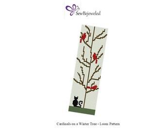 LOOM Pattern - Cardinals On A Winter Tree