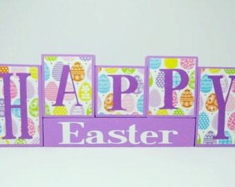Happy Easter Block Set, Easter decorations, easter blocks, wooden block set, Spring decoration, spring decor, spring block set