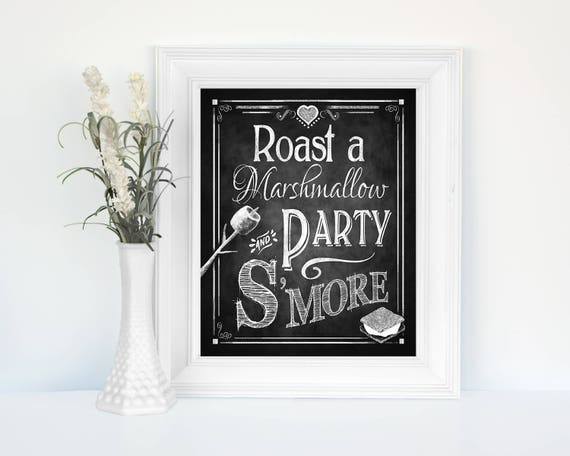 S'mores Wedding Sign | PRINTED Roast a Marshmallow,  Party Smore Sign, Chalkboard Wedding, Rustic Wedding, Smores Bar Sign, S'mores Bar Sign