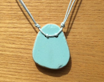 Single Aqua Pastel Sea Pottery Pendant Necklace