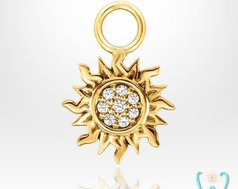 14K Tiny Pave Diamond Sun - Hoop Earring Charm
