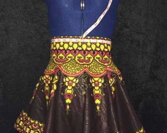 Brown Yellow Pink Dashiki Tennis Skirt