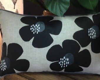 Cushion Decorative Pillow Cover - Black & Grey on Natural Linen, Screen Printed Flowers/Floral, Australian Made