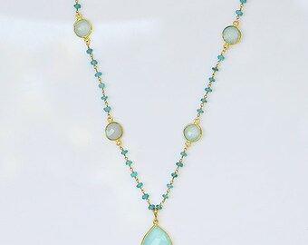 Aqua Chalcedony necklace, long necklace, rosary necklace, Apatite wire wrapped necklace, Seafoam Gemstone necklace, chalcedony pendant