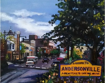 Plein Air Painting of Andersonville, Chicago - 12x16in Original Oil Painting