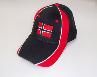Scandinavian Embroidered Baseball Cap Hat for Norwegian's with Norway Flag or Norway Crest