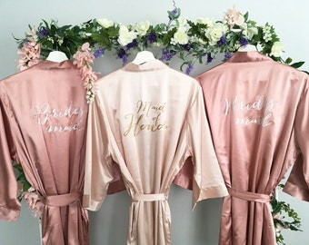 Bridesmaid robes, Maid of Honor Robe, Set of 3, Blush, Rose Gold, Mauve, Dusty Rose, Vintage Pink Wedding, Bridal Party Robes, MANY COLORS