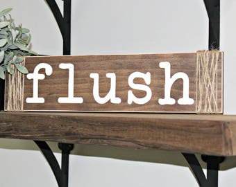 Flush Wash Brush Floss Sign with Twine - Rustic Bathroom Sign - Farmhouse Decor - Rustic Home Decor - Rustic Bathroom Rules - Bathroom Decor