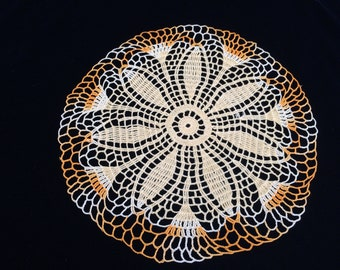 Crochet Lace Doily. Yellow and Variegated Orange Vintage Cotton Lace Doily. Round Crocheted Doily. Round Yellow Crochet Lace Doily RBT3608