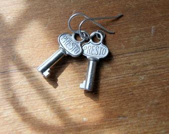 Vintage Steel Key Earrings - Presto Key Key Earrings