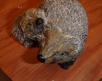 Hedgehog Adult and Young Figurine - Cast Resin Knickknack made in Japan