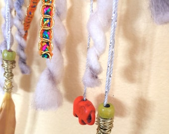 Dreamcatcher, Wall Hanging, Nursery Decor, Bedroom Decor, Bohemian, Hippie, Elephant, Feathers, Sequins, Beads