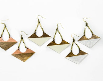 Coretta Earrings/ Lasercut Wood Shapes/ Antique Brass Bar Chain/ Painted Copper/ Cream/ Silver/ Dipped/ Dangle Earrings