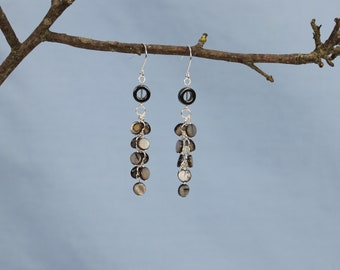 Hematite and shell earrings, donut bead, coin beads, cascade, natural, silver plated findings, neutral colors