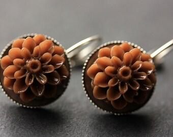 Brown Dahlia Flower Earrings. French Hook Earrings. Chocolate Brown Flower Earrings. Lever Back Earrings. Handmade Jewelry.