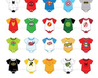 Superhero Clipart,Babysuit Clipart,Baby clothes Clipart,Baby onesies Clipart,Baby tee Clipart,Vector,Instant download Illustration_CA23