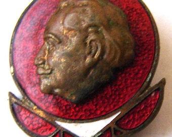 BULGARIAN pin enamel BADGE communist propaganda badge with the effigy of Georgi Dimitrov