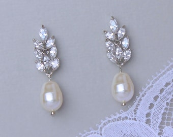 Crystal and Pearl Drop Earrings, Crystal Bridal Earrings, Ivory Pearl Earrings, Bridal Jewelry, Wedding Jewelry, SANDRA