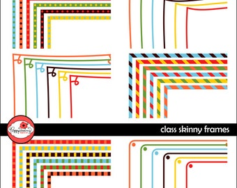 Class Skinny Frames Mega Pack: Clip Art Pack Card Making Digital Frames Page Borders