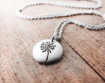 Tiny dandelion necklace in silver, gift for daughter, graduation gift