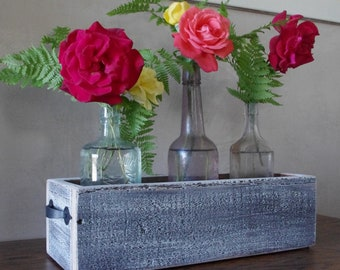 Rustic White Wash Box - Wood Box - Centerpiece Box - Wedding Centerpiece - Planter Box - Storage Box - Reclaimed Wood - Rustic Home Decor