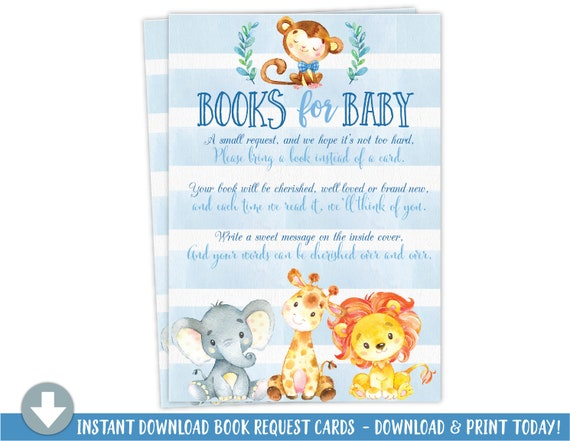 Elephant Jungle Baby Shower Book Request Card, Books For Baby Card Instant Download