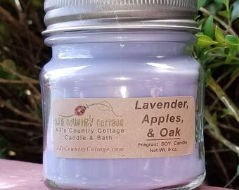 LAVENDER APPLES and OAK Soy Candle - Fall Candles - Scented Candles - Lavender Candles, Apple Candles, Oak Candles, Fall Decor, Autumn Decor