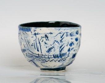 SINABADE - Porcelain bowl, unique, handmade, OOAK